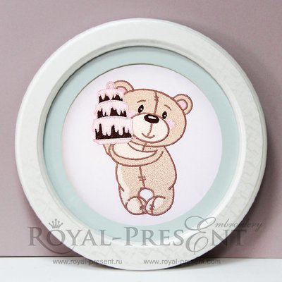 Machine Embroidery Design Teddy Bear with cake