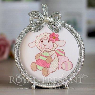 Machine Embroidery Design Cute Lamb - 2 sizes