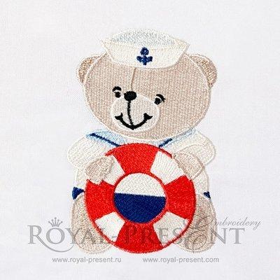 Machine Embroidery Design Little Teddy Bear sailor