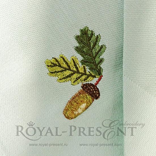 Set of Machine Embroidery Designs Acorns