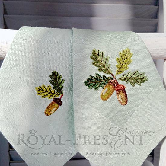 Set of Machine Embroidery Designs Acorns RPE-777-01