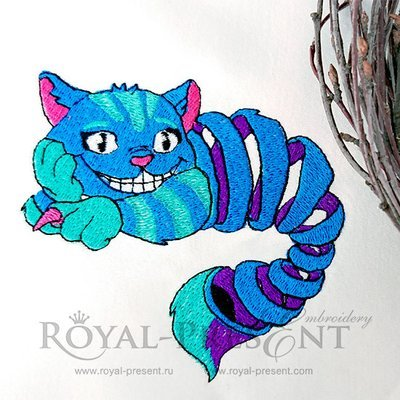 Disappearing Cheshire Cat levitating in the air Machine Embroidery Design - 2 sizes
