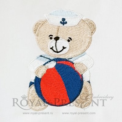 Machine Embroidery Design Little Teddy Bear sailor with ball