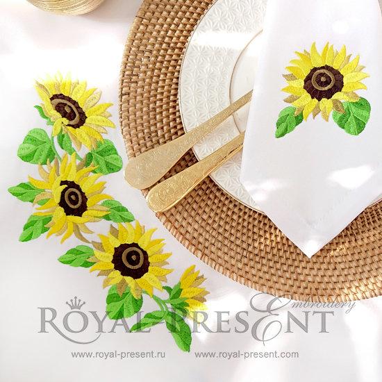 Set of Machine Embroidery Designs Sunflowers RPE-412-01