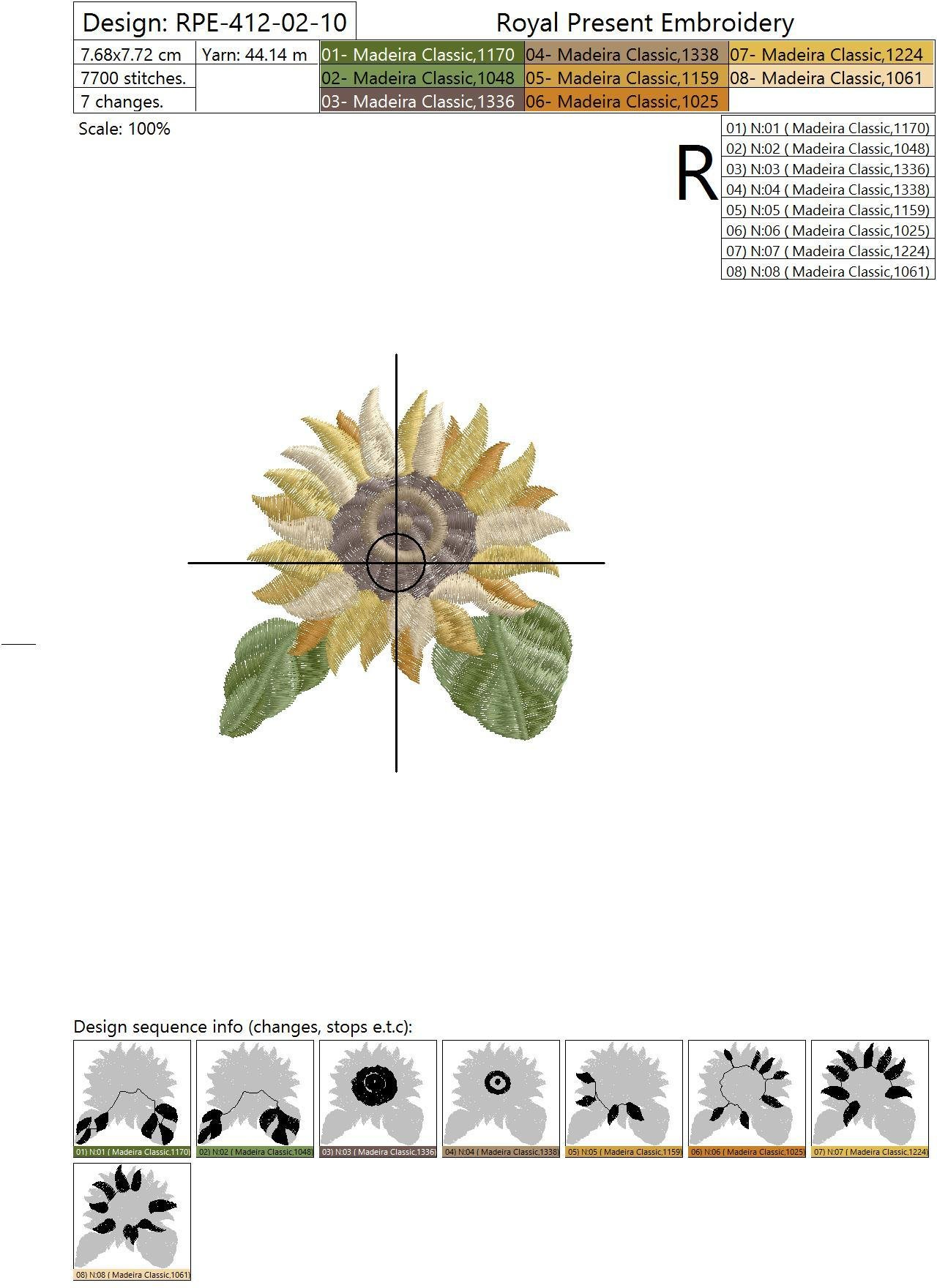 Set of Machine Embroidery Designs Sunflowers