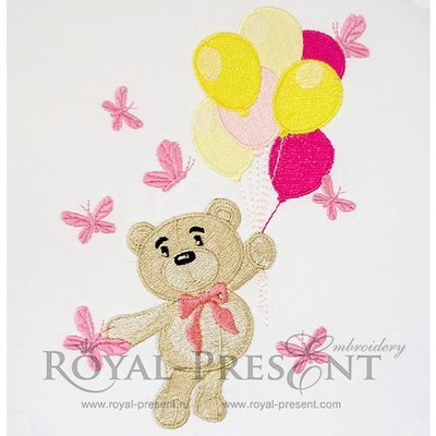 Machine Embroidery Design Cute Bear with air balloons