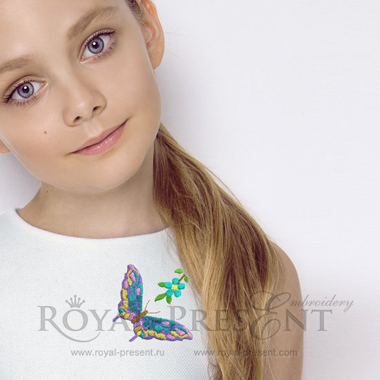 Machine Embroidery Design Multicolored Butterfly RPE-897-3