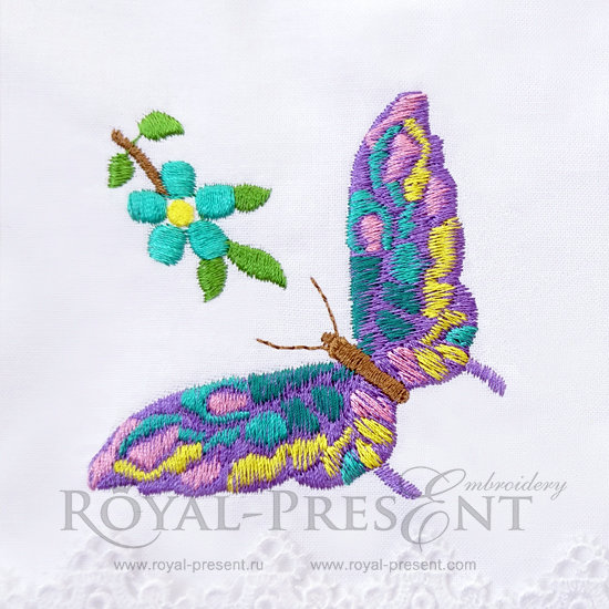 Machine Embroidery Design Multicolored Butterfly