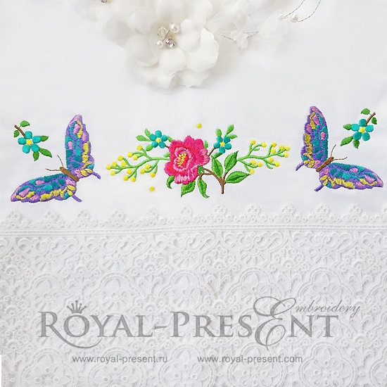 Set of Machine Embroidery Designs Rose and Butterflies RPE-897-04