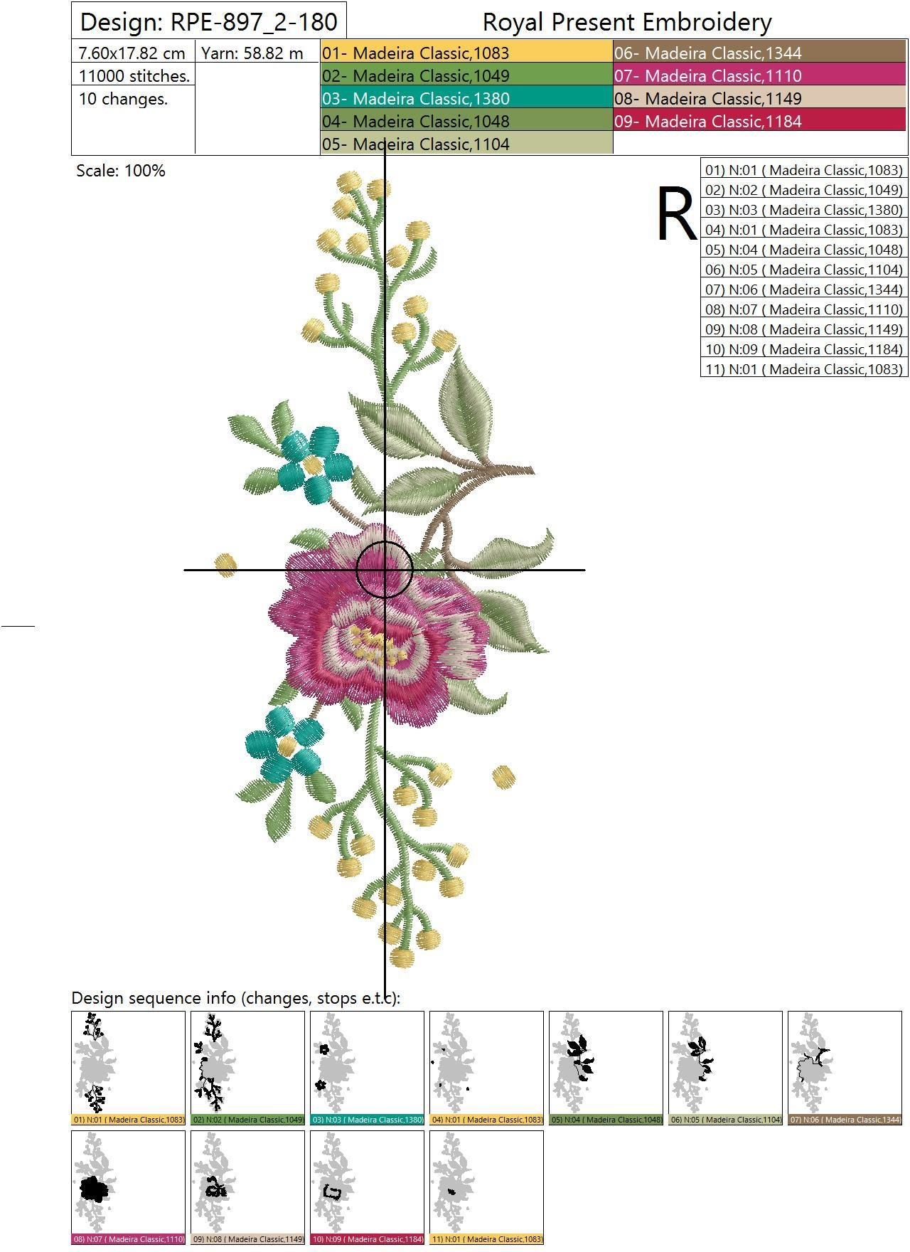Set of Machine Embroidery Designs Rose and Butterflies