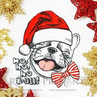 Machine Embroidery Design French bulldog in a Santa hat