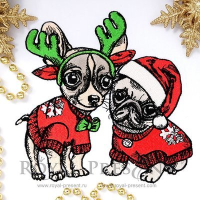 Machine Embroidery Design Christmas Puppies Pug and Chihuahua - 2 sizes