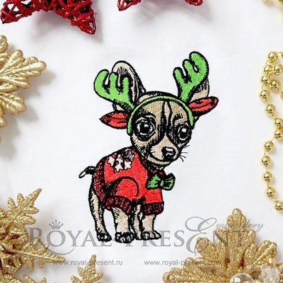 Machine Embroidery Design Puppy Chihuahua - 2 sizes