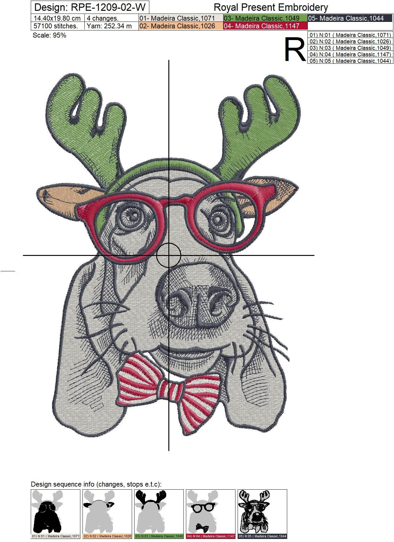 Christmas Machine Embroidery Design Dog - 2 sizes