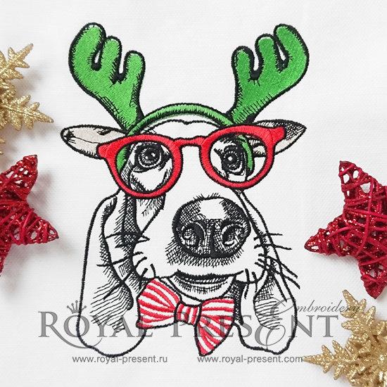 Christmas Machine Embroidery Design Dog - 2 sizes RPE-1209