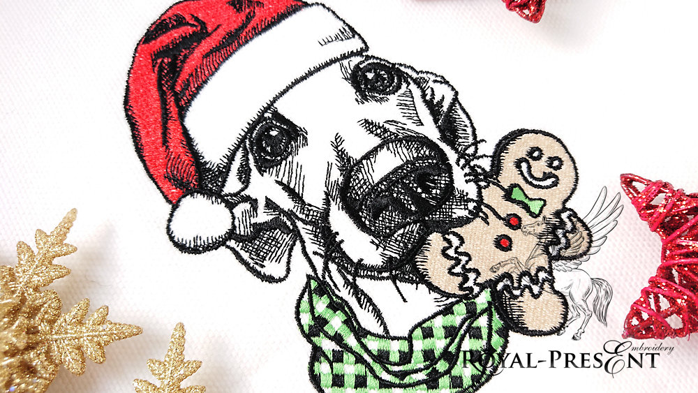 Machine Embroidery Design Christmas Dog - 2 sizes
