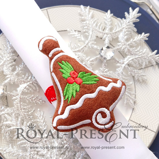 In The Hoop napkin ring Machine Embroidery Design Gingerbread Bell Free RPE-1226