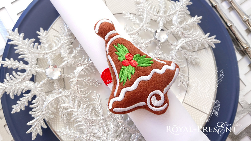 In The Hoop napkin ring Machine Embroidery Design Gingerbread Bell Free