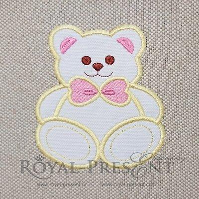 Applique Machine Embroidery Design Bear