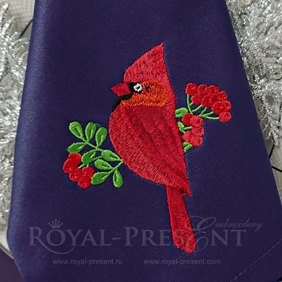 Machine Embroidery Design Red Cardinal - 2 sizes RPE-1231