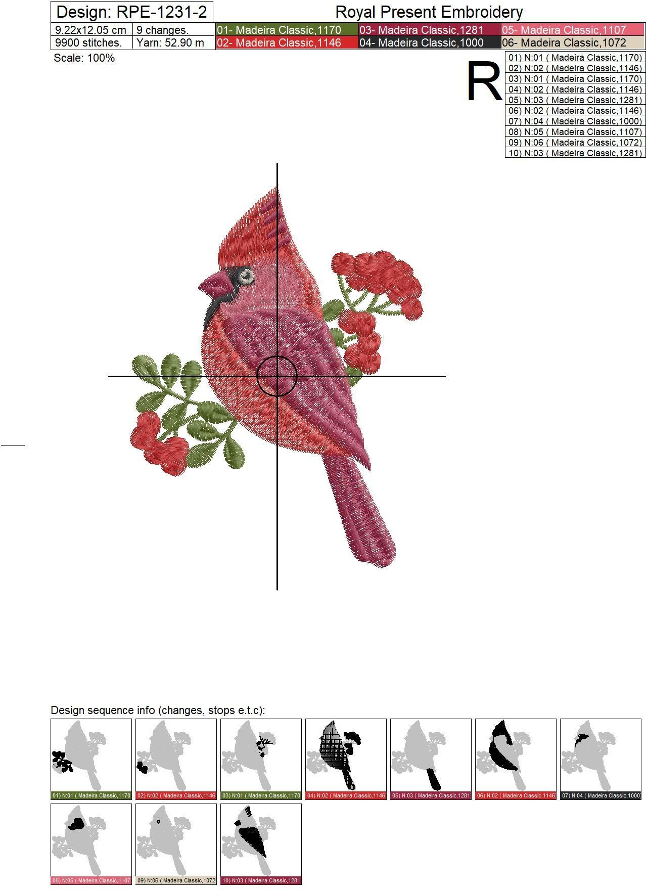 Machine Embroidery Design Red Cardinal - 2 sizes
