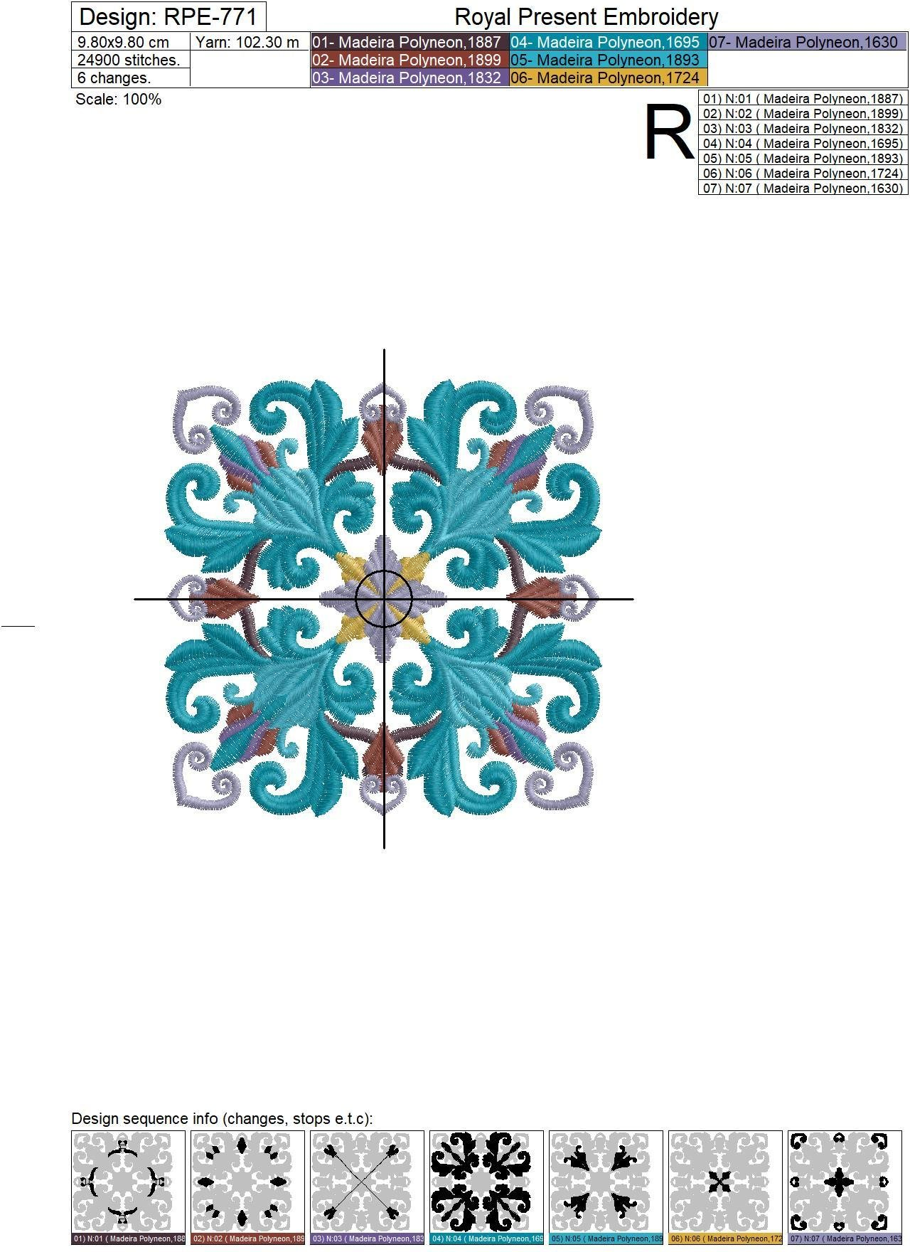 Quilt Block Machine Embroidery Design Peacock Color - 7 sizes