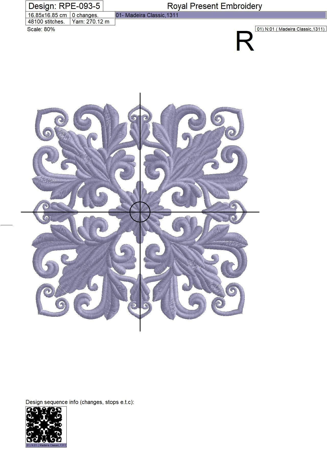 Quilt Block Machine Embroidery Design Lilac Color - 7 sizes