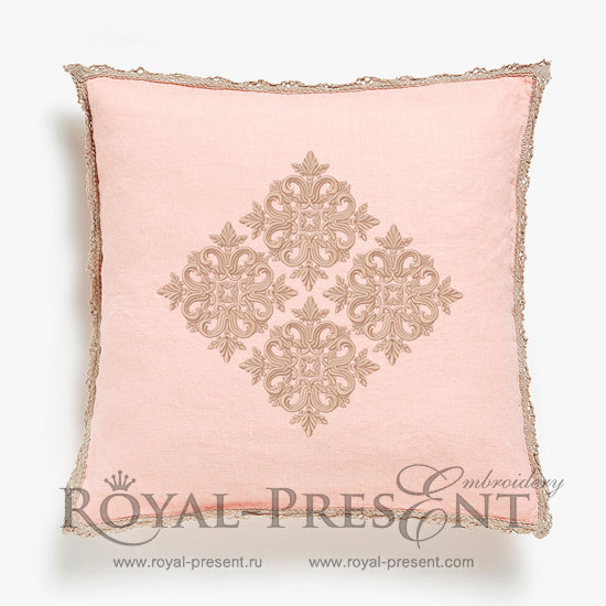 Quilt Block Machine Embroidery Design Pink Color - 7 sizes RPE-813