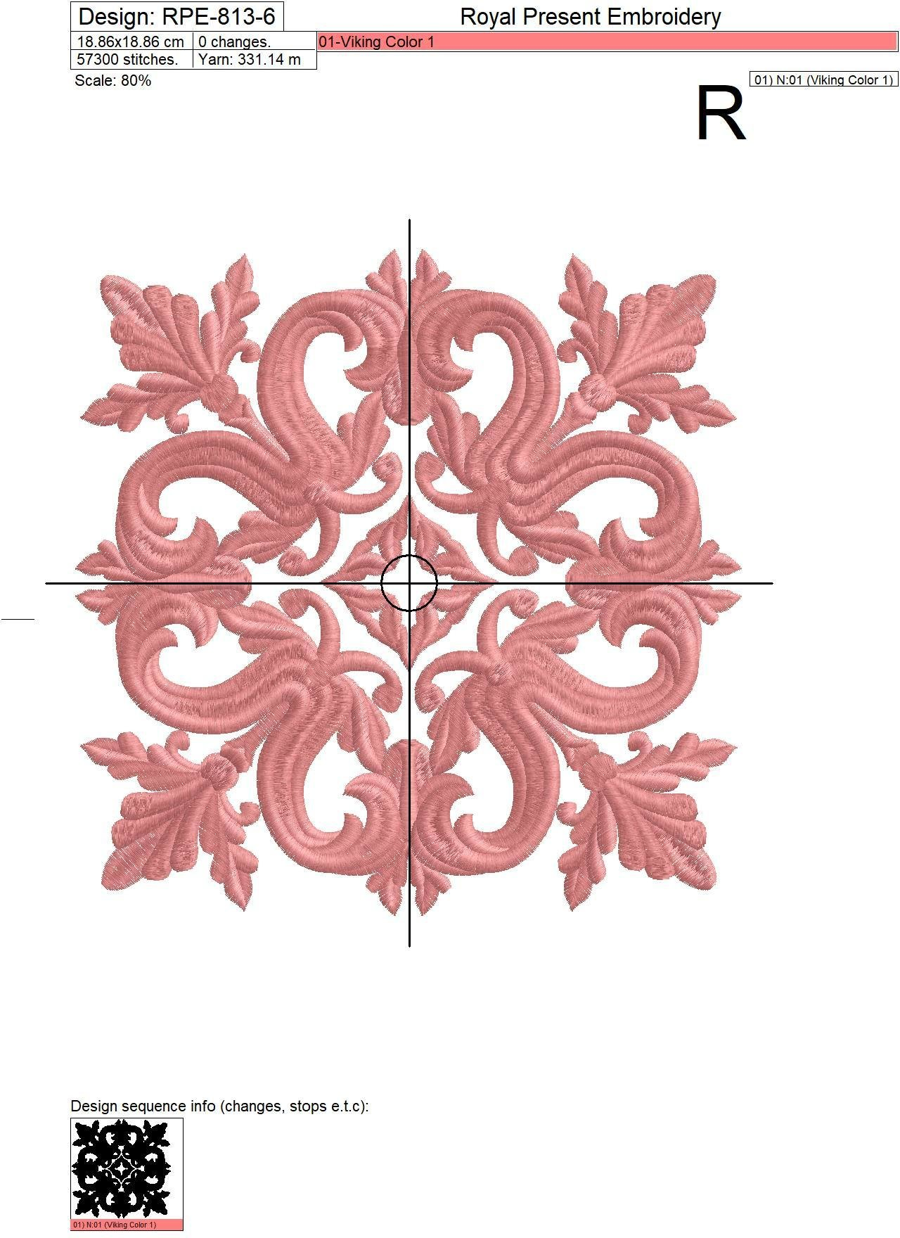 Quilt Block Machine Embroidery Design Pink Color - 7 sizes