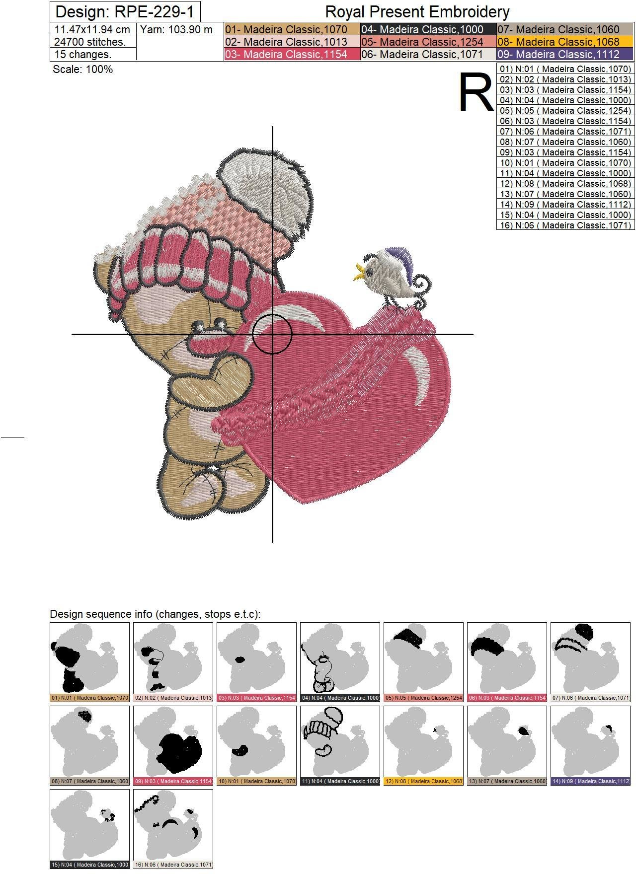 Machine Embroidery Design Cute Cartoon Teddy bear