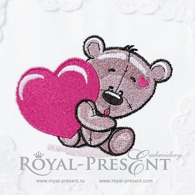 Machine Embroidery Design Cute Teddy Bear with heart - 2 sizes