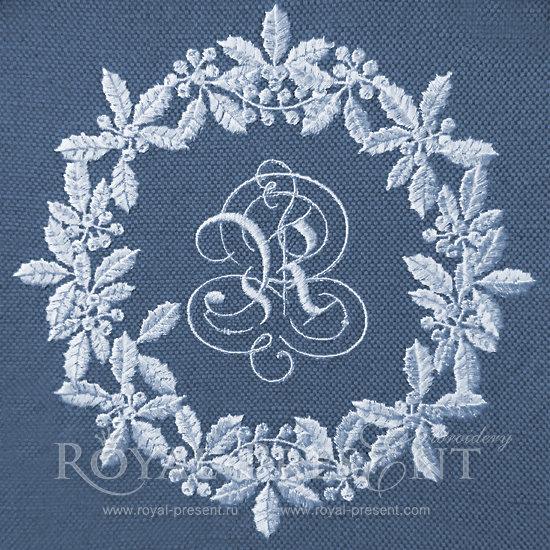 Machine Embroidery Design White Christmas Wreath RPE-132-2