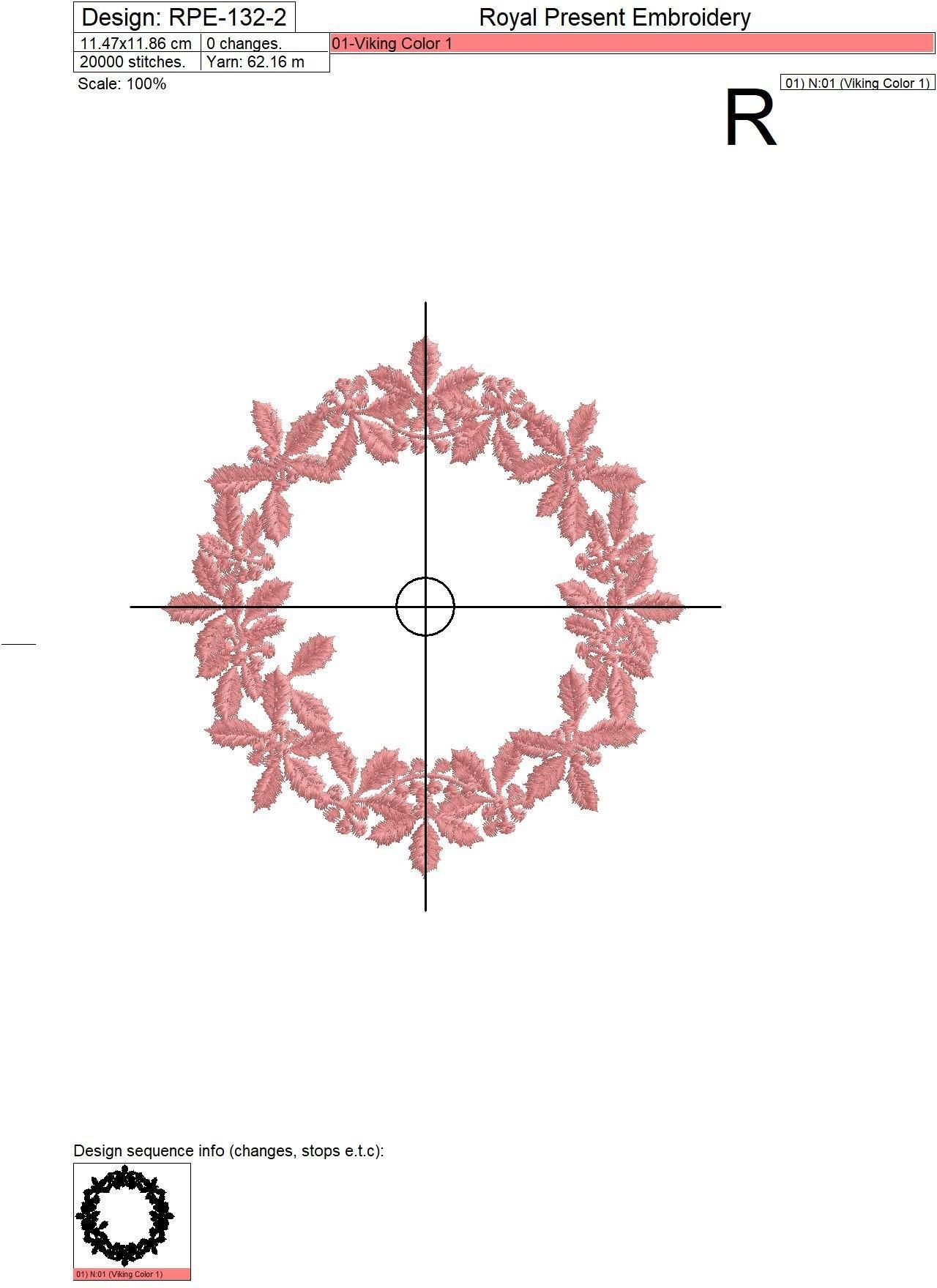Machine Embroidery Design White Christmas Wreath