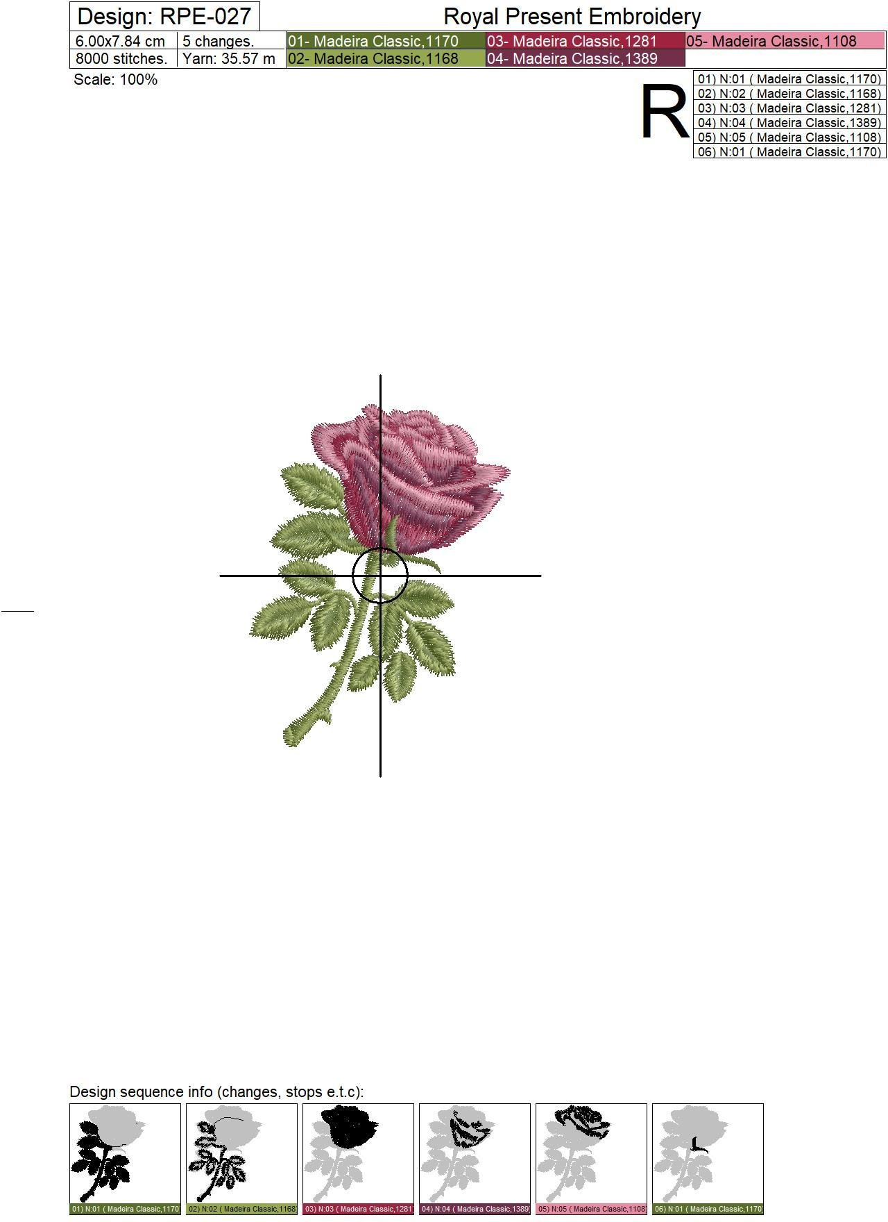 Machine Embroidery Design Red rose - 3 sizes