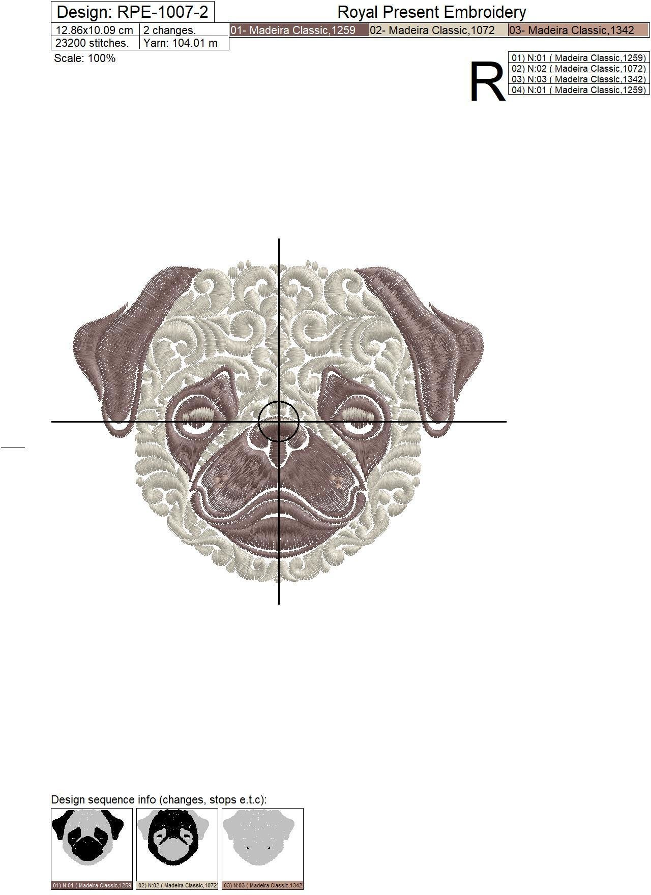 Ornamental Machine Embroidery Design Pug dog - 6 sizes