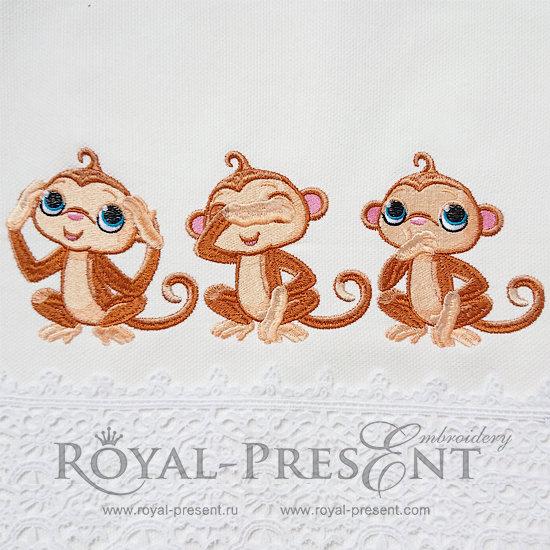 Machine Embroidery Design Three Cute Monkeys - 2 sizes RPE-954