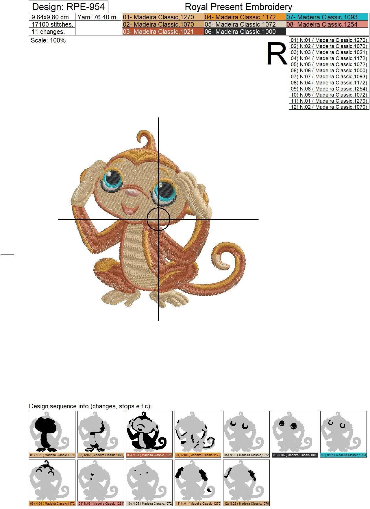 Machine Embroidery Design Three Cute Monkeys - 2 sizes