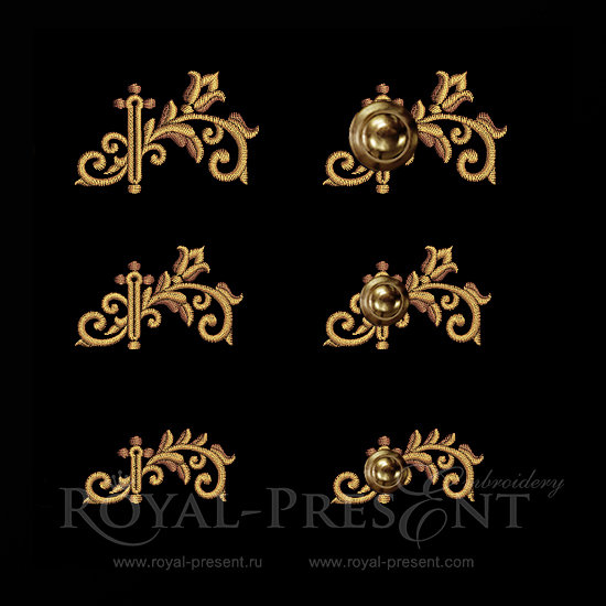 Baroque buttonholes Embroidery Designs RPE-152-02