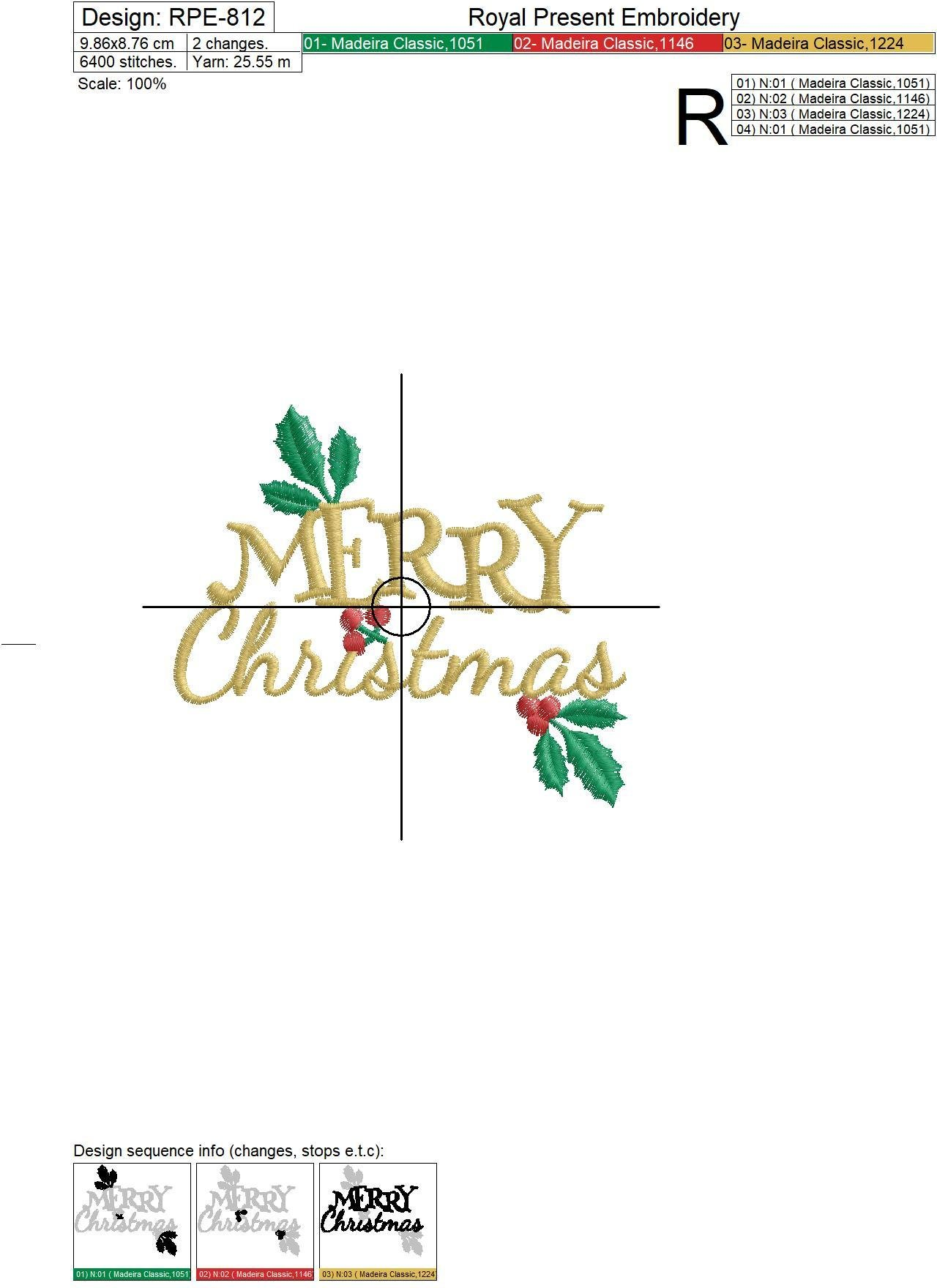 Free Machine Embroidery Design Merry Christmas