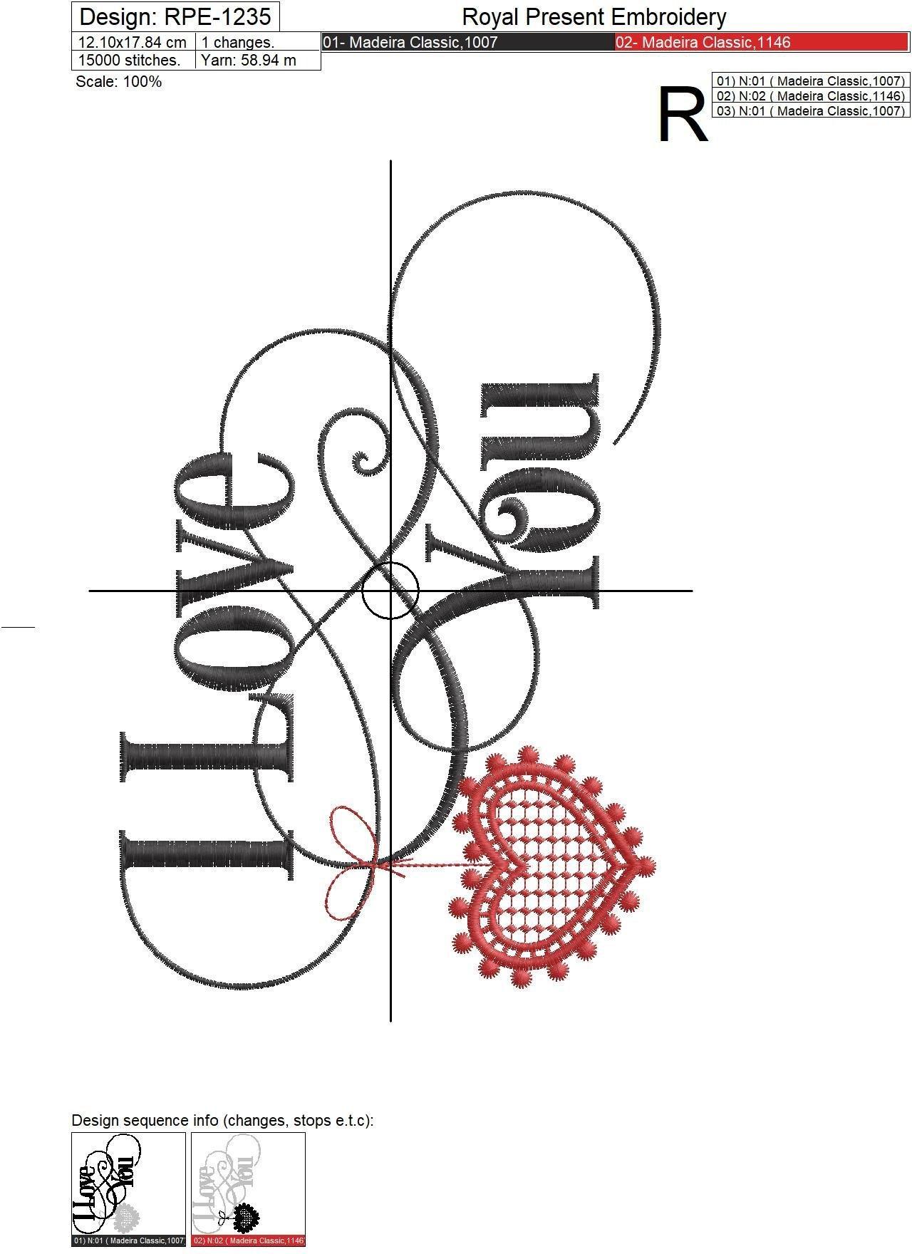 Machine Embroidery Design I Love You inscription - 2 sizes