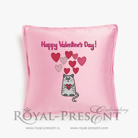 Machine Embroidery Design Happy Valentine`s Day - 2 sizes RPE-112