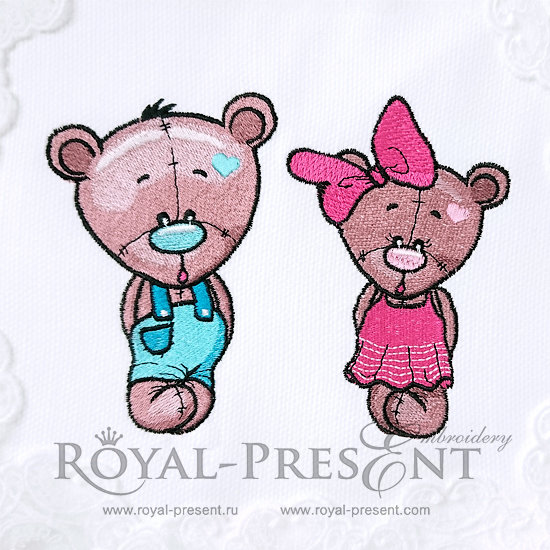 Machine Embroidery Designs Bear cubs - 3 sizes RPE-340-01