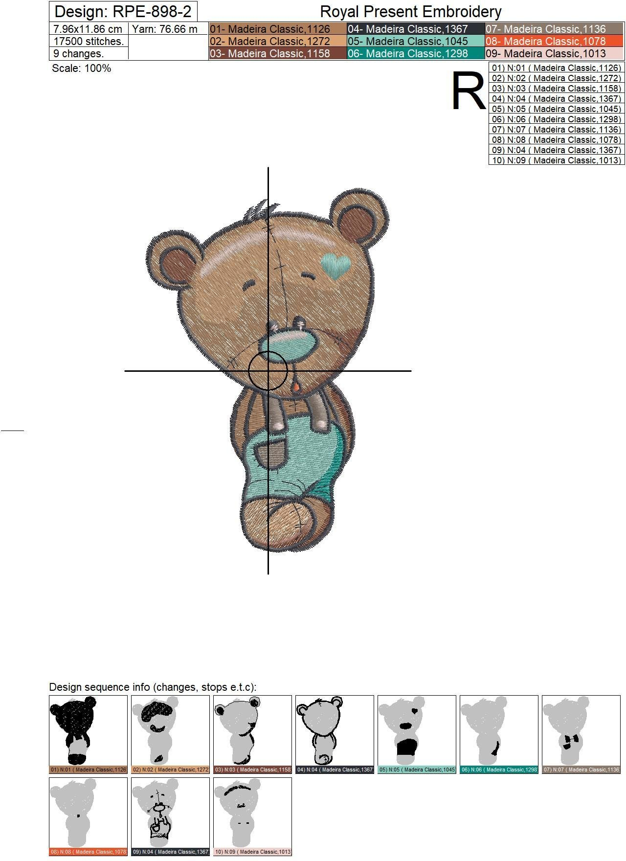 Machine Embroidery Designs Bear cubs - 3 sizes