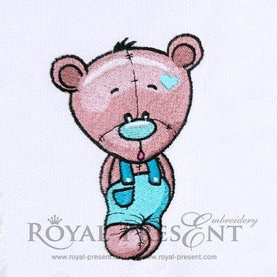 Teddy Bear Machine Embroidery Design - 3 sizes