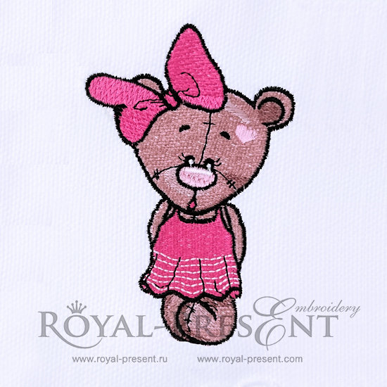 Machine Embroidery Designs Teddy Bear Girl - 3 sizes RPE-340
