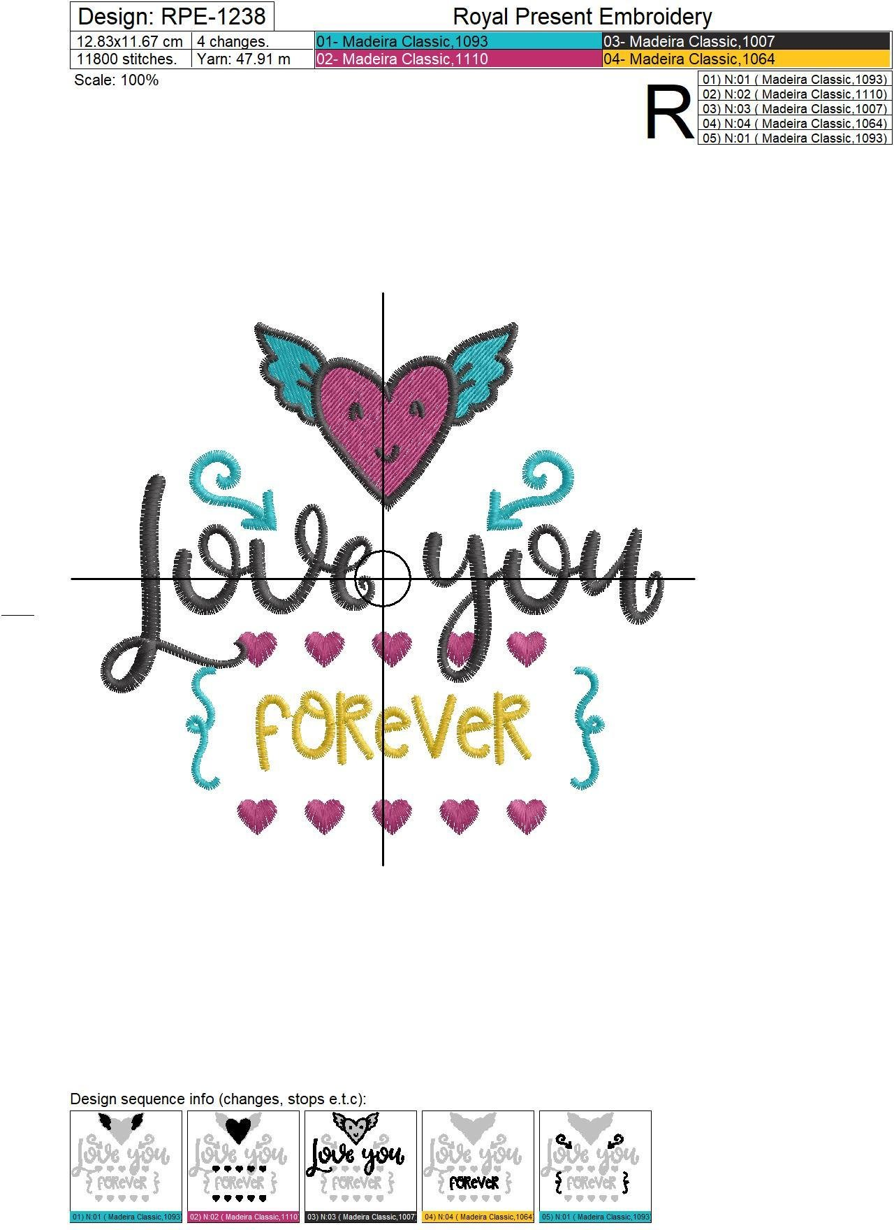 Machine Embroidery Design Love You Forever - 3 sizes