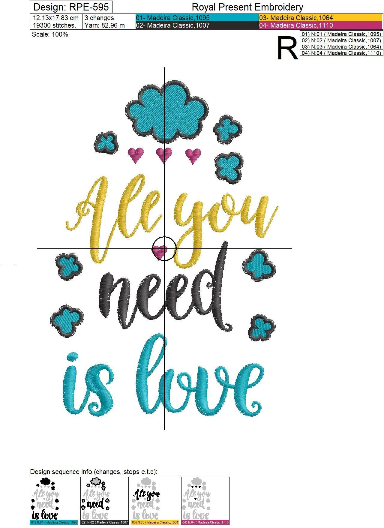 All you need is Love Machine Embroidery Design