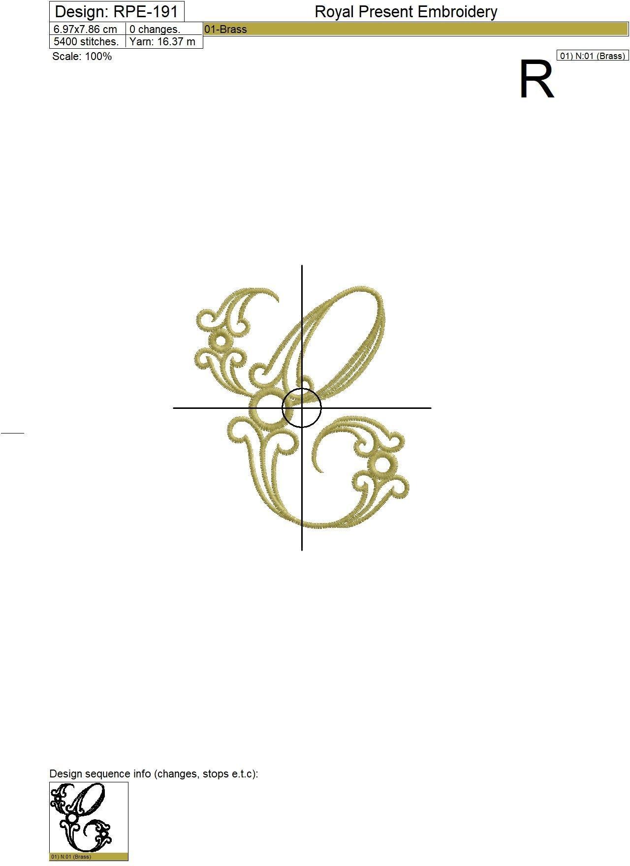 Machine Embroidery Design Vintage letter C