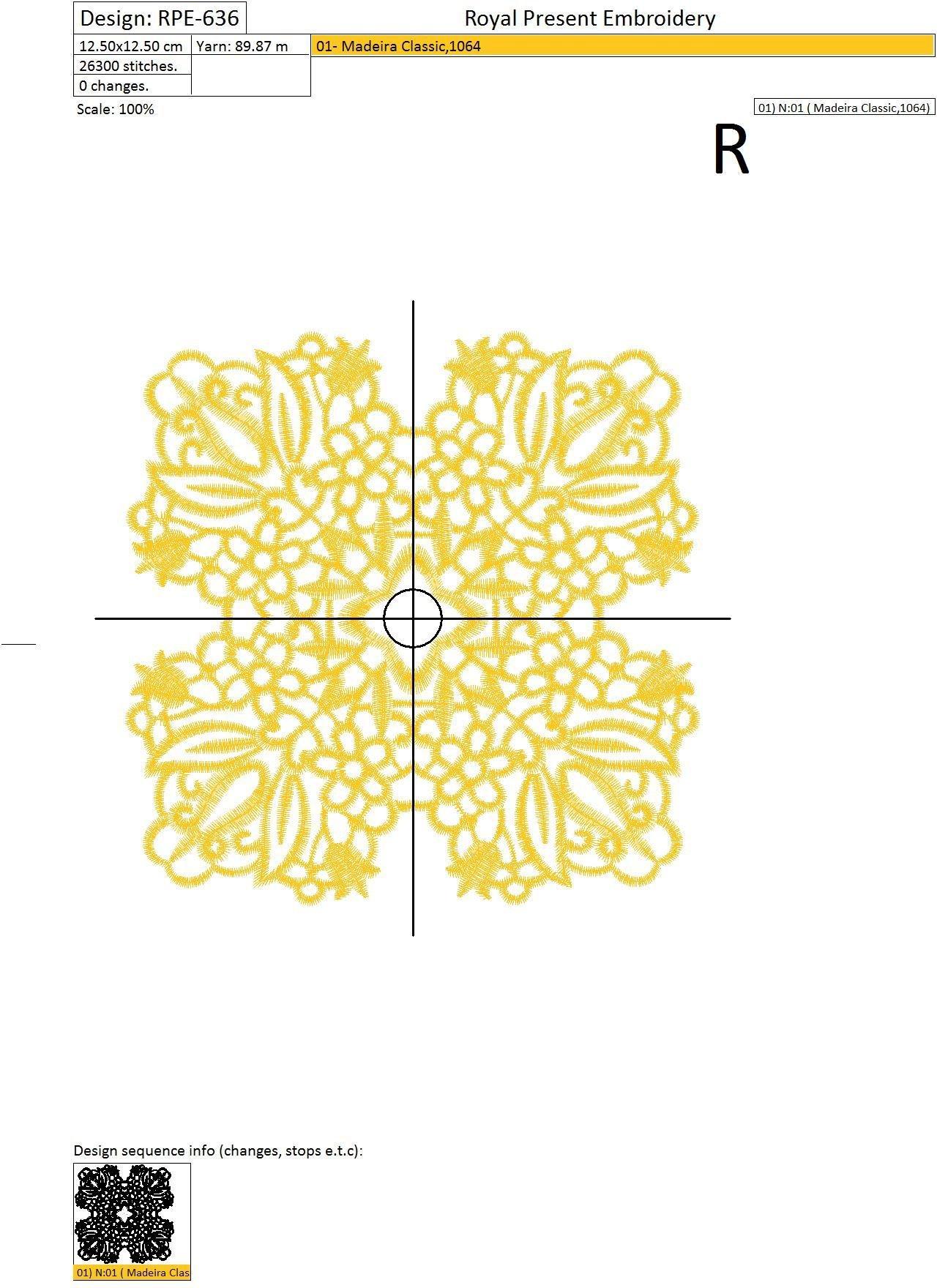 Lace square Machine Embroidery Design