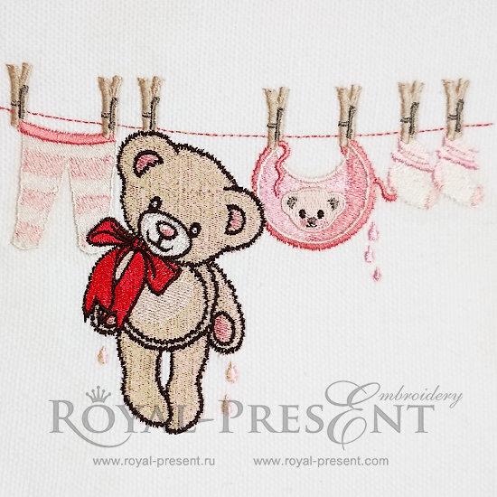 Teddy Bear Machine Embroidery Design - 4 sizes RPE-1038